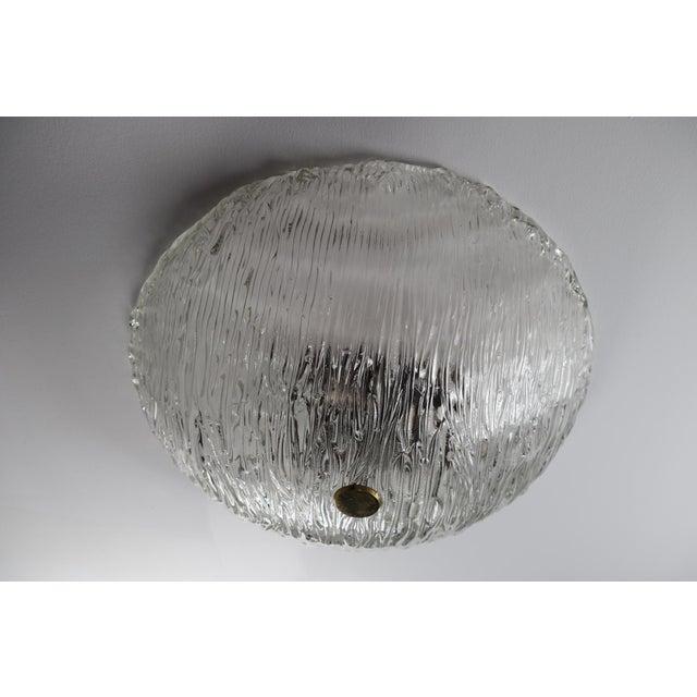 Brutalist Round Modernist Textured Ice Glass Flush Mounts By Kalmar Austria For Sale - Image 3 of 12