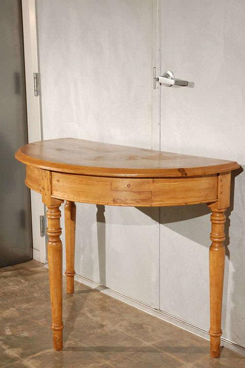 Pine Antique Pine Demi Lune Tables   A Pair For Sale   Image 7 Of