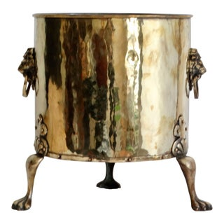 Early Antique Large English Brass Jardiniere For Sale
