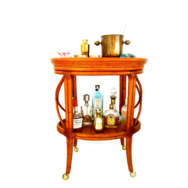 Vintage Ethan Allen Bamboo Rattan Bar Cart - Image 6 of 8