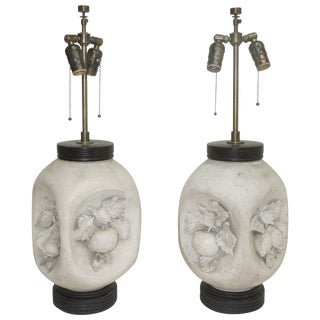 1950s Italian Mid-Century Modern Matte Bisque Fruit Lamps - a Pair For Sale