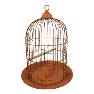Vintage Orange Birdcage For Sale