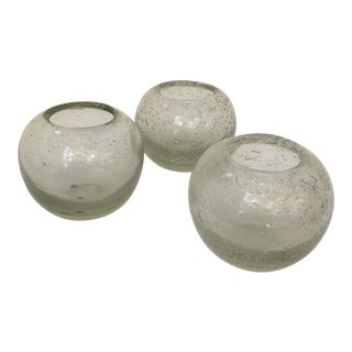 Abstract Modern Round Bubble Glass Vases - Set of 3 For Sale