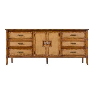 Restored Vintage Thomasville Oak Rattan Dresser Credenza Eastern Flare For Sale