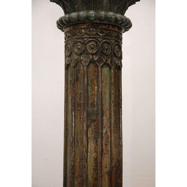 Tony Duquette Pair of Carved Wooden Anglo Indian Pillar Columns For Sale - Image 4 of 8