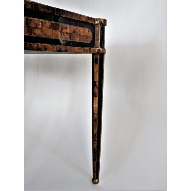 Maitland Smith Tesselated Horn and Brass Writing Partner Desk - Image 5 of 11