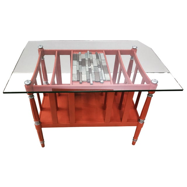 Magazine Rack Glass Top Coffee Table - Image 1 of 9