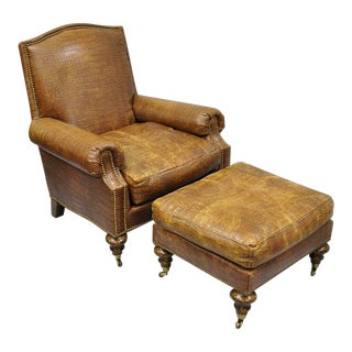 Early 21st Century Vintage Pearson English Regency Brown Leather Embossed Gator Lounge Chair & Ottoman For Sale