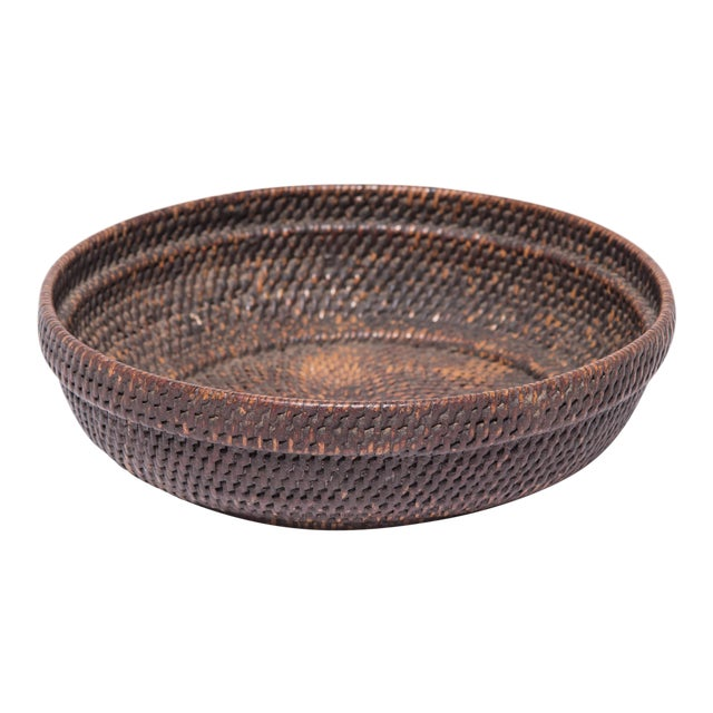 Chinese Woven Offering Plate For Sale