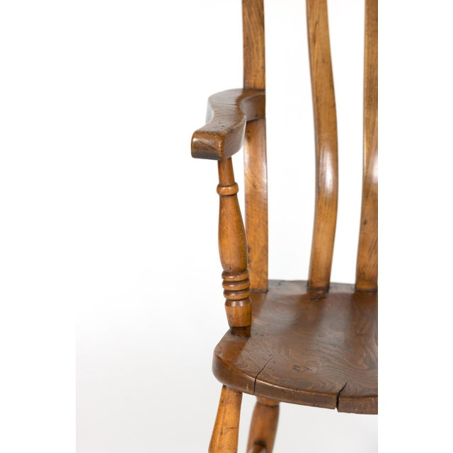 Brown English Elm Vertical Slat Back Armchair Circa 1890 With Turned Legs and H-Stretcher For Sale - Image 8 of 13