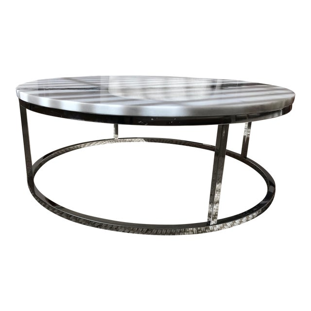 Cb Smart Round Marble Top Coffee Table Chairish - Cb2 smart glass coffee table