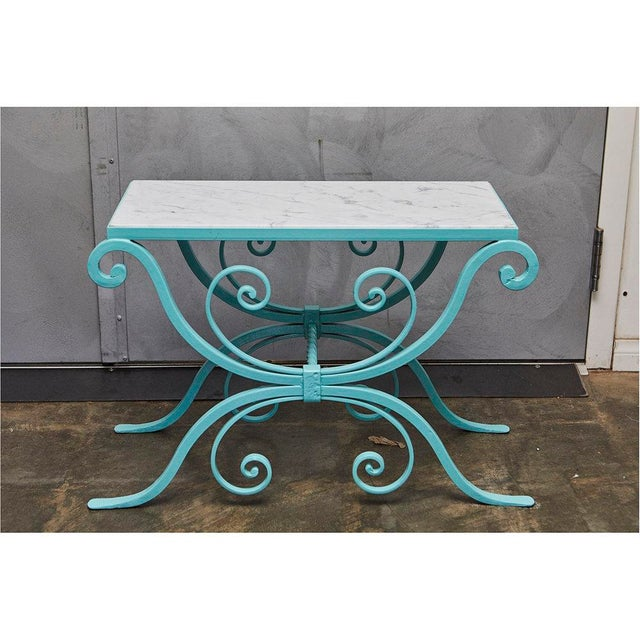 Wrought Iron Table With Marble Top For Sale - Image 4 of 8
