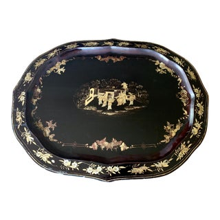 Mid 20th Century Chinoiserie Paper Mache Gilt Bees Tray For Sale