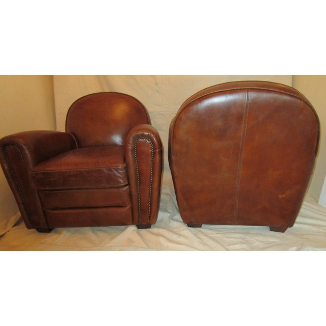 Leather Club Chairs - Pair - Image 4 of 5