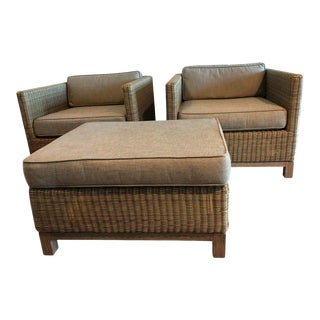 Contemporary Restoration Hardware Malibu Lounge Chair and Ottoman Set For Sale