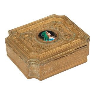 French 19th Century Gold Dresser Box For Sale
