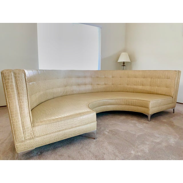 Semicircular Butter Sofa With Alligator Embossment For Sale In Monterey, CA - Image 6 of 13