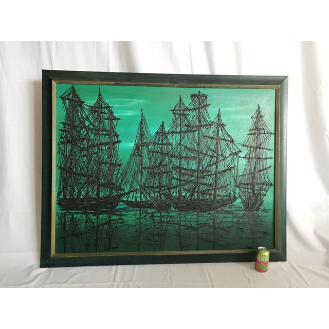 Large vintage MCM drip oil painting of pirate ships at sea. Thick heavily textured black drip against dark blue and dark...