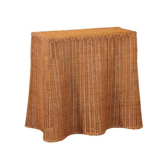 Stellar Vintage Trompe l'Oiel Drape Wicker Console Table For Sale