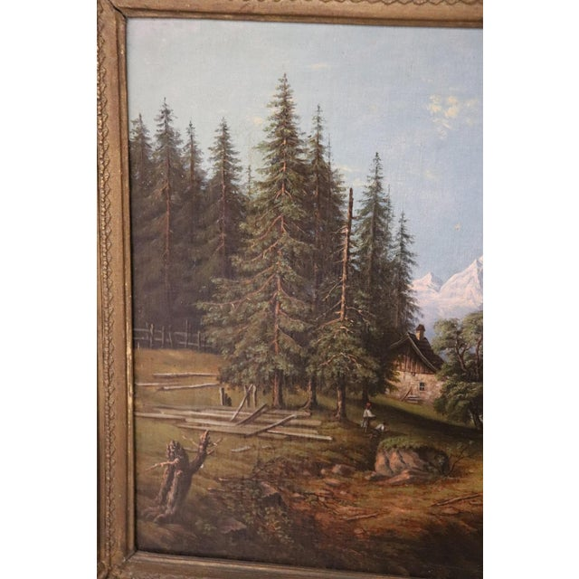 Important refined oil painting on canvas from an important collection of 19th century paintings. The subject is a mountain...