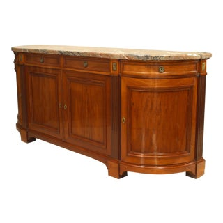 Fine 19th Century French Marble-Top Walnut Buffet Cabinet For Sale