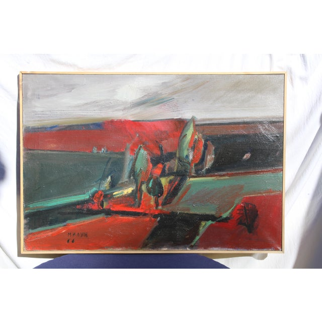 """Abstract Belgrade """"Vece"""" Oil Painting by Milun Mitrovic For Sale - Image 3 of 9"""