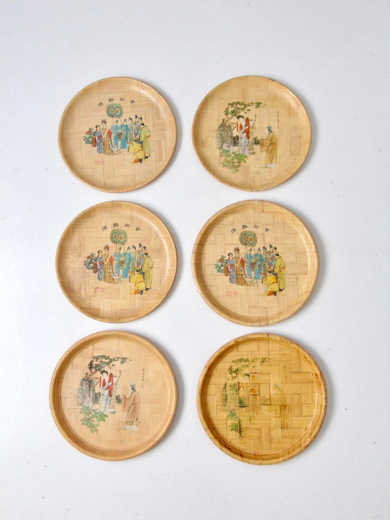 Vintage Chinese Bamboo Painted Plates - Set of 6 - Image 10 of 10  sc 1 st  Chairish & Vintage Chinese Bamboo Painted Plates - Set of 6 | Chairish
