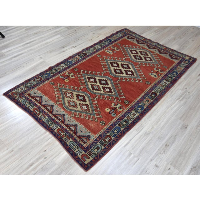 Vintage Oushak Wool Hand Knotted Rug - 4′6″ × 8′1″ - Image 3 of 11