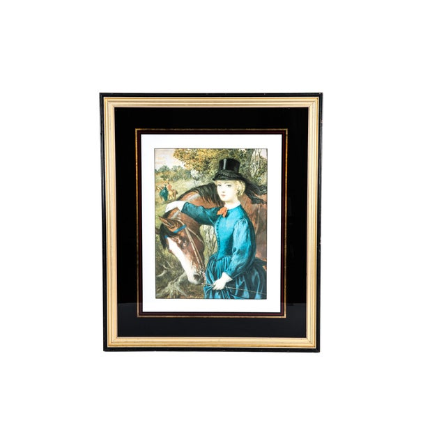 Early 20th century French print lithograph with black or gold paint wood frame. The print lithograph is in excellent...