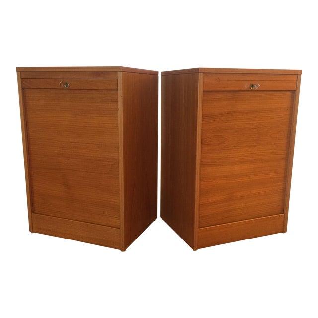 Danish Modern Teak Tambour Doors Filing Cabinets - A Pair For Sale