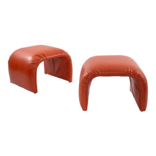 Directional Waterfall Leather Ottomans - a Pair For Sale