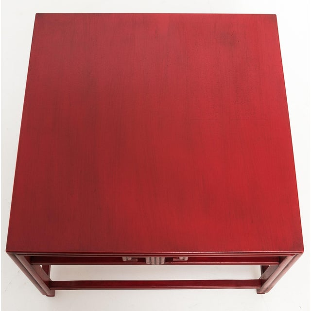 Boho Chic Michael Taylor for Baker Far East Red Occasional Table For Sale - Image 3 of 9