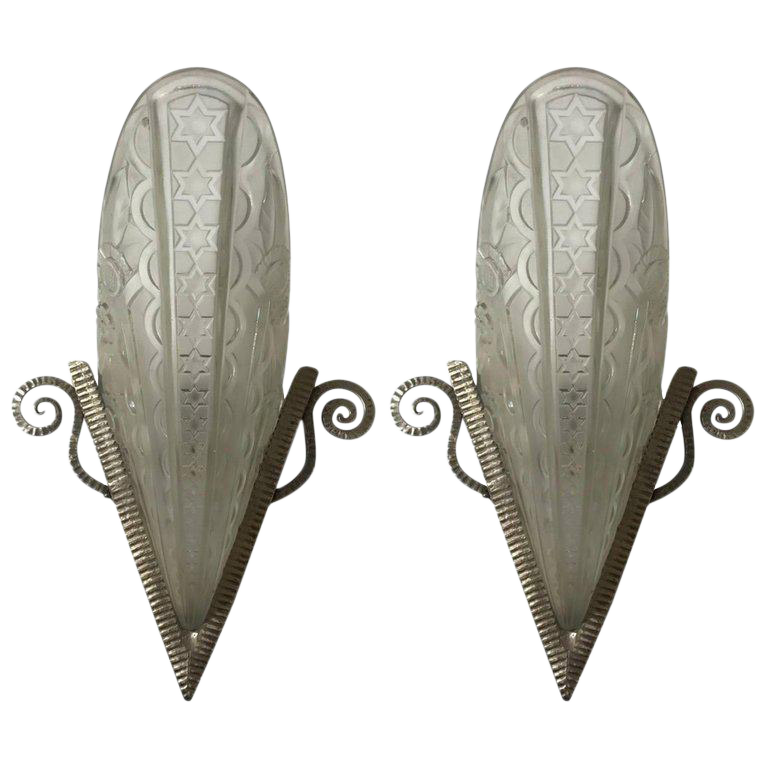 Pair of French Art Deco Wall Sconces by Donna Paris For Sale  sc 1 st  Decaso & Exceptional Pair of French Art Deco Wall Sconces by Donna Paris ...
