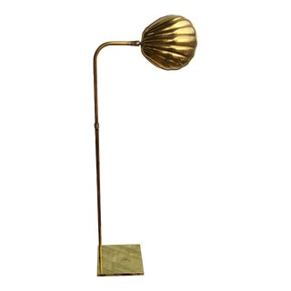 1970s Vintage Koch and Lowly Clam Shell Brass Floor Lamp For Sale