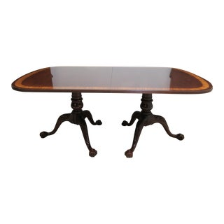 Traditional Ethan Allen 18th Century Collection Mahogany Banded Dining Room Table For Sale
