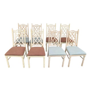 1960s Vintage Chinoiserie Faux Bamboo Dining Chairs- Set of 8 For Sale