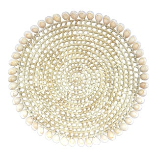 Hand Woven Seagrass and Seashell Wall Hanging For Sale