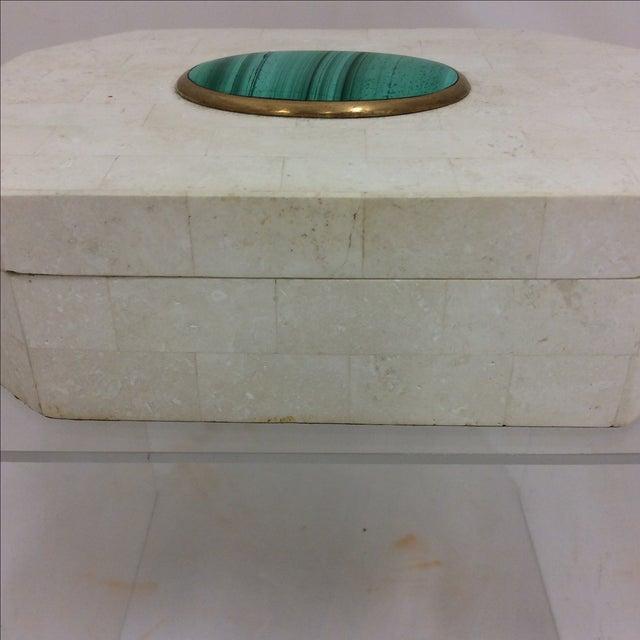 Maitland Smith Tessellated Marble & Malachite Box - Image 5 of 11