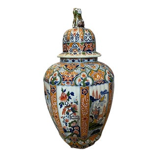 Delft Polychrome Decorated Melon Form Covered Vase For Sale