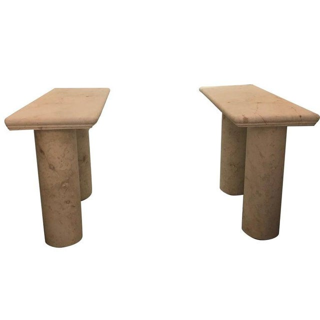 Italian Sandstone Double Pedestal Console Tables - a Pair For Sale - Image 13 of 13