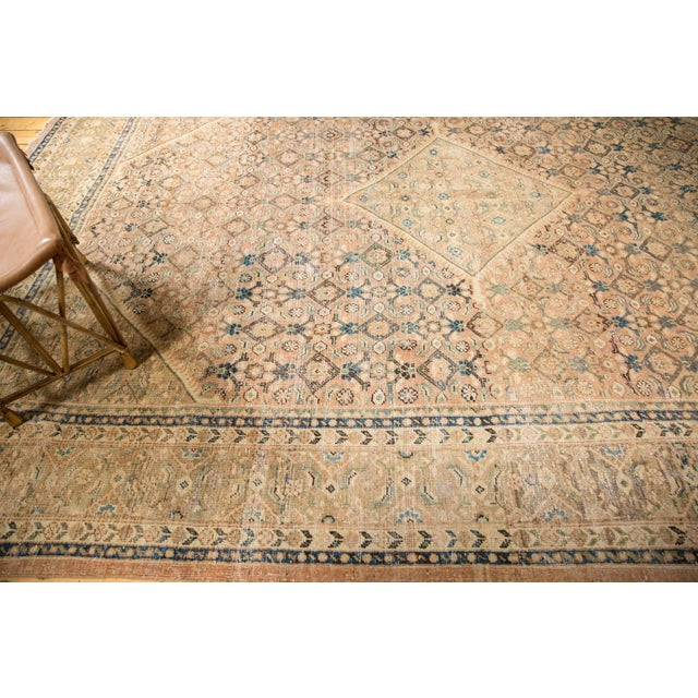 "Vintage Distressed Mahal Carpet - 9'9"" X 12'8"" For Sale - Image 12 of 13"