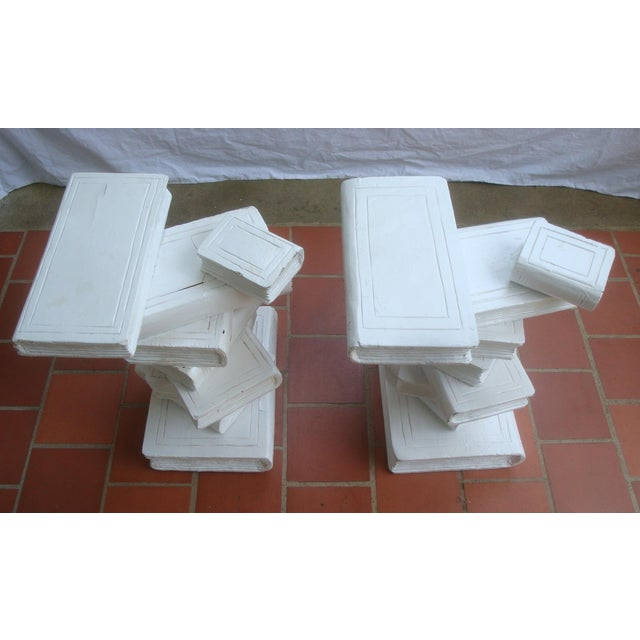 Maitland - Smith Trompe l'Oeil Stacked Library Book Pedestals for Side Tables, Coffee Table or Bench, a Pair For Sale - Image 4 of 7