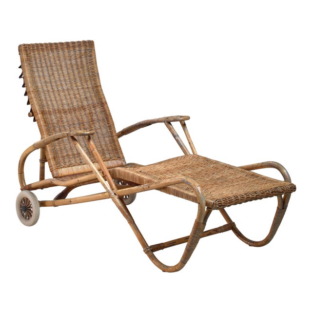 Adjustable Bamboo and Rattan Chaise With Wheels, Germany, 1920s-1930s For Sale