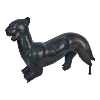 Bronze Jaguar Bust For Sale