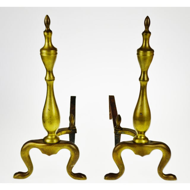 Federal Vintage Logan Co. Federal Style Brass Fireplace Andirons - a Pair For Sale - Image 3 of 13