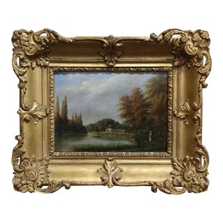"19th Century Picturesque French Country Side ""Along the River"" Oil Painting"