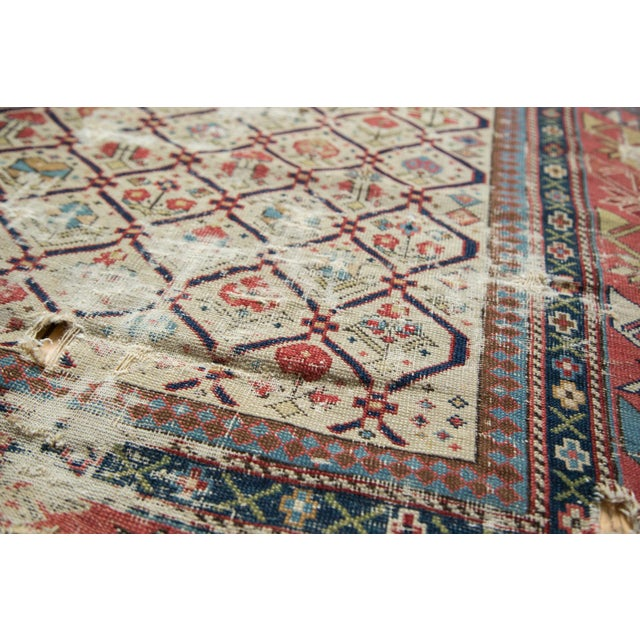 "Textile Antique Fragmented Caucasian Prayer Square Rug - 2'10"" x 3'11"" For Sale - Image 7 of 10"