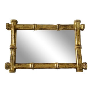 Vintage Italian Gold Giltwood Florentine Bamboo Framed Wall Mirror For Sale