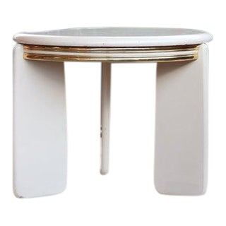 Post Modern Regency Brass + White Lacquered Coffee Table For Sale