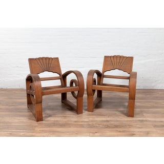 Teak Wood Country Chairs From Madura With Rattan Seats and Looping Arms - a Pair Preview